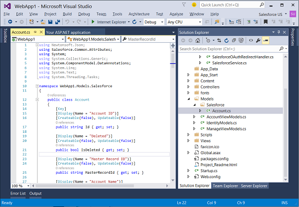 Salesforce Connected Service - Visual Studio 2015 - Visual